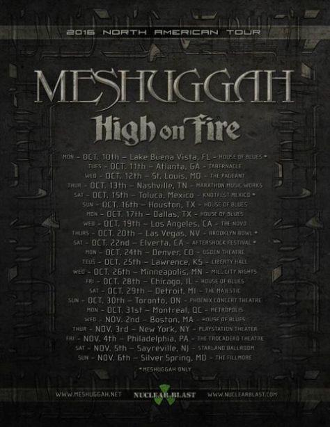 Tour - Meshuggah - NA 2016