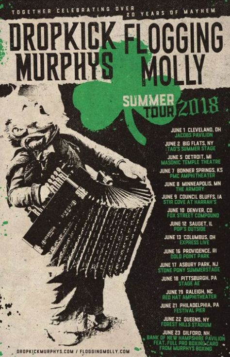 dropkick murphys, flogging molly, tour posters, flogging molly tour poster, dropkick murphys tour poster