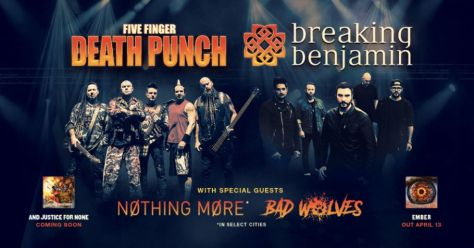 five finger death punch, breaking  benjamin, tour posters