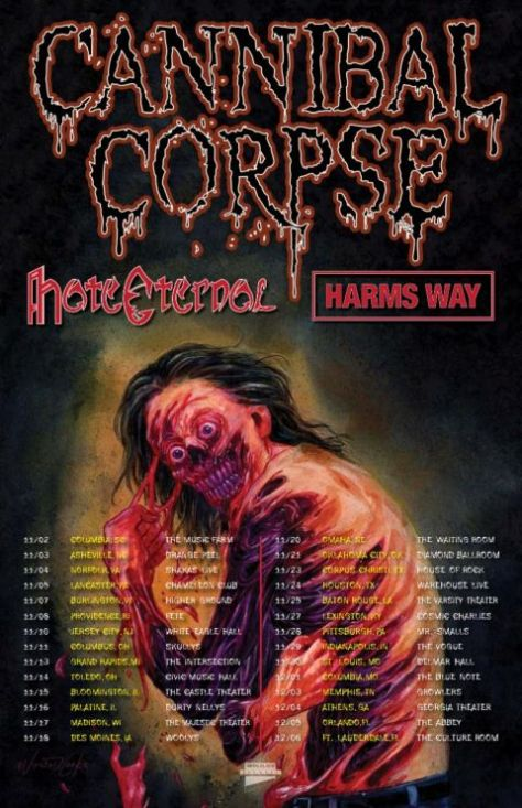 tour posters, cannibal corpse, cannibal corpse tour posters, metal blade records artists