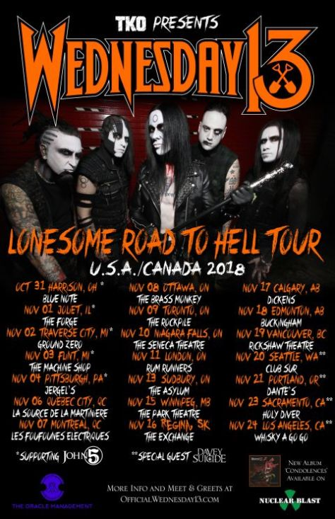 tour posters, wednesday 13 tour posters