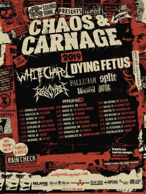 tour posters, whitechapel, dying fetus, chaos and carnage tour