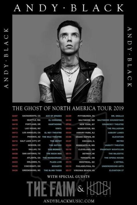 tour posters, andy black, andy black tour posters, the ghost of north america tour
