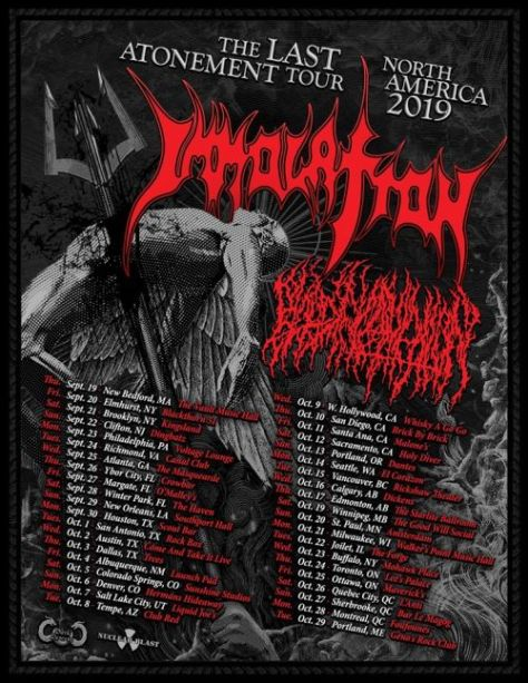 tour posters, immolation, nuclear blast records artists, immolation tour posters