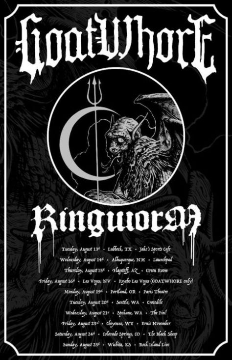 tour posters, goatwhore, goatwhore tour posters, metal blade records artists