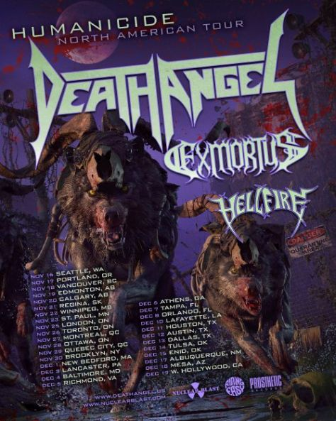 tour posters, death angel, nuclear blast records artists, death angel tour posters