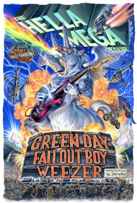tour posters, green day, fall out boy, weezer, the hella mega tour