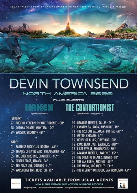 tour posters, devin townsend, devin townsend tour posters, insideout music artists