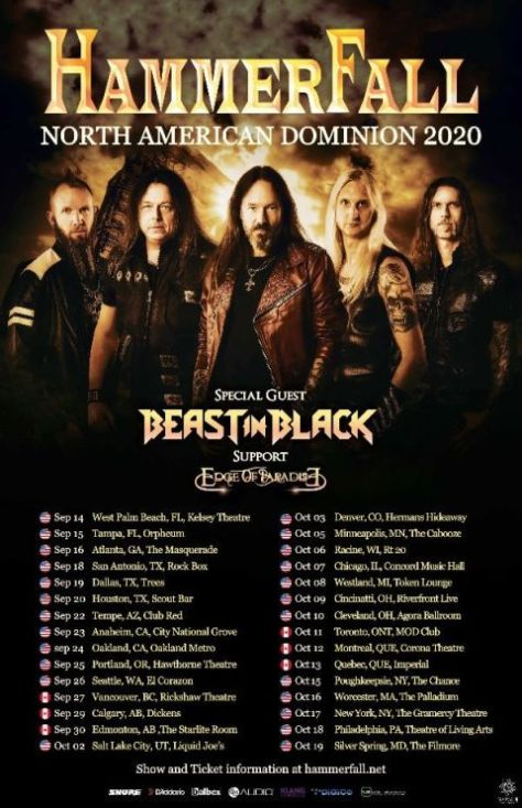 tour posters, napalm records artists, hammerfall, hammerfall tour posters