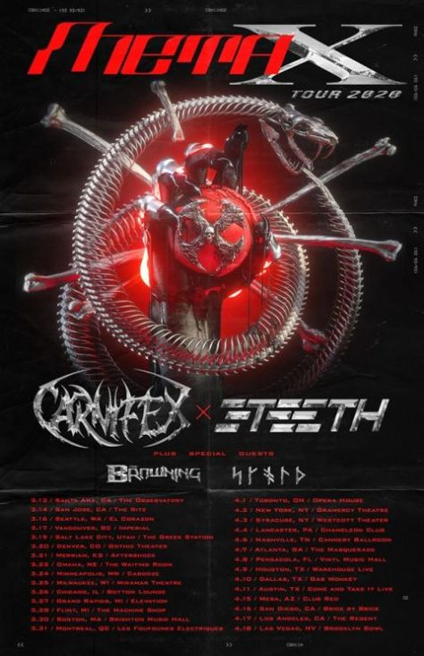 tour posters, 3teeth, carnifex, century media records artists, nuclear blast records artists, meta x tour