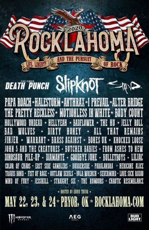 music festival posters, rocklahoma posters, rocklahoma 2020 posters