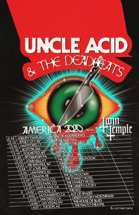 tour posters, uncle acid and the deadbeats, uncle acid and the deadbeats tour posters, rise above records artists
