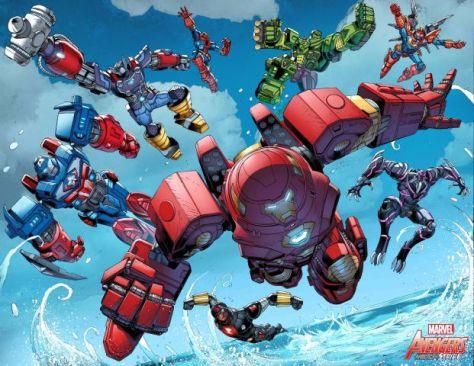 comic book pages, marvel comics, marvel entertainment, avengers, avengers mech strike