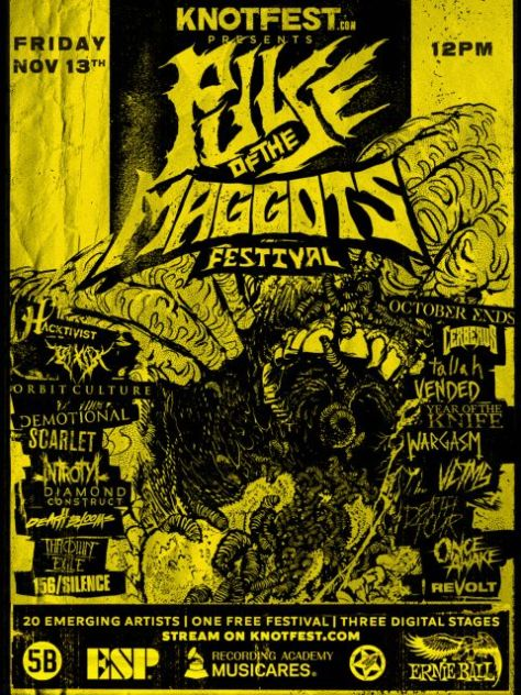 festival posters, slipknot, knotfest, pulse of the maggots fest