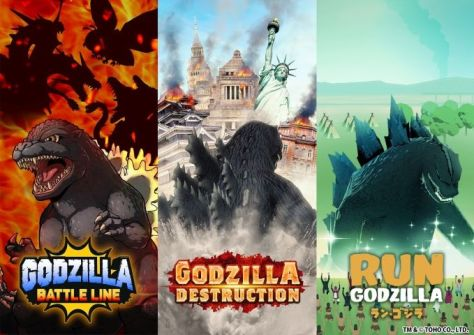 toho games, toho productions, godzilla mobile games collage