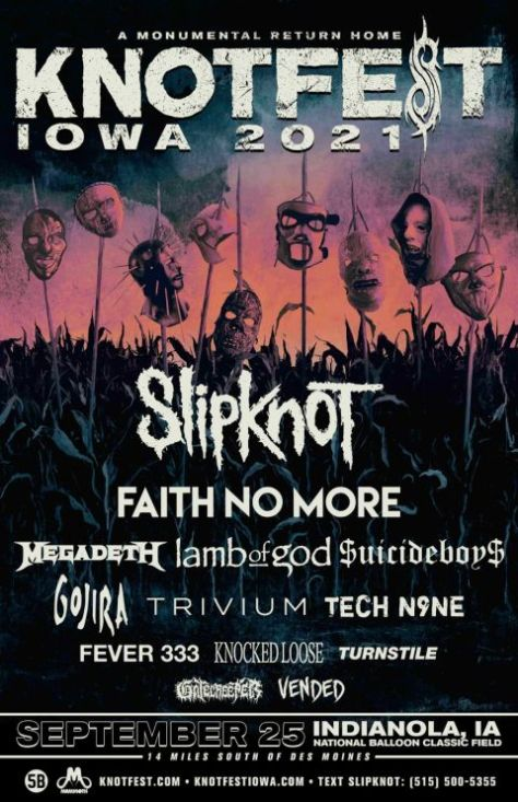 festival posters, promotional posters, slipknot, knotfest, knotfest iowa, roadrunner records