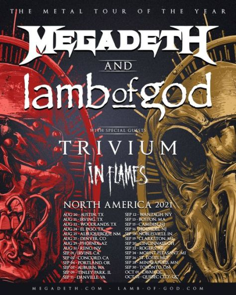 tour posters, promotional posters, the metal tour of the year, megadeth tour posters, lamb of god tour posters, megadeth, lamb of god, trivium, in flames