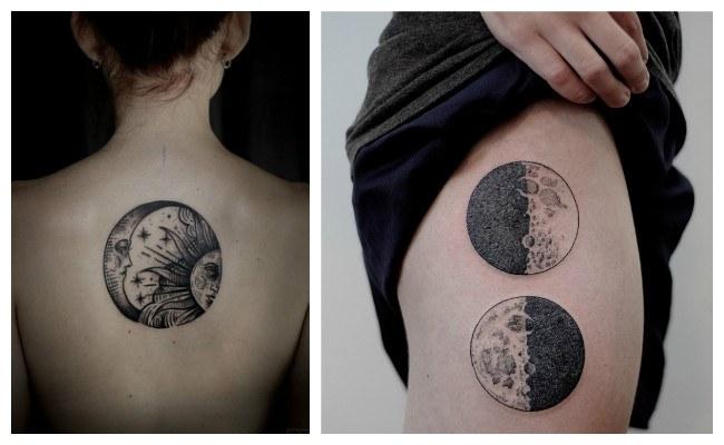 Tatuajes De Lunas Y Significado Lunas Llenas Pequeñas Con Soles
