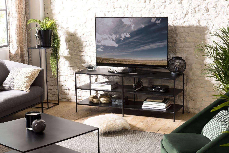 meuble tele industriel metal noir 2 niveaux liverpool
