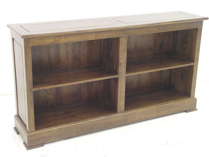 meuble tv bibliotheque basse hevea 4 niches 150x35x80cm tradition