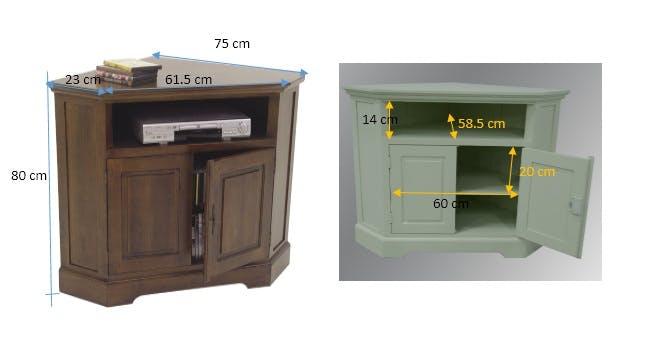 meuble tv d angle 2 portes hevea 105cm tradition