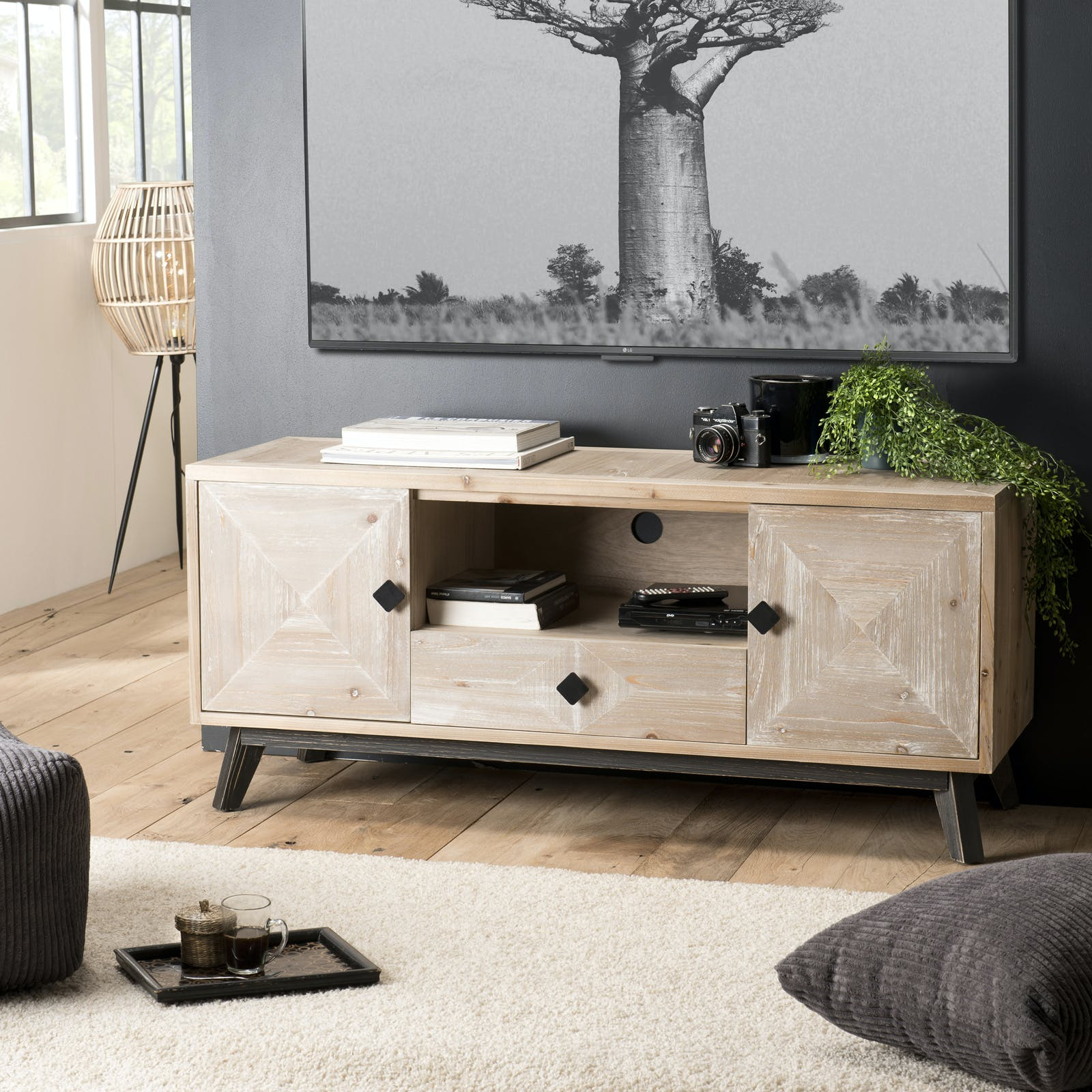 meuble tv en bois blanchi phoenix