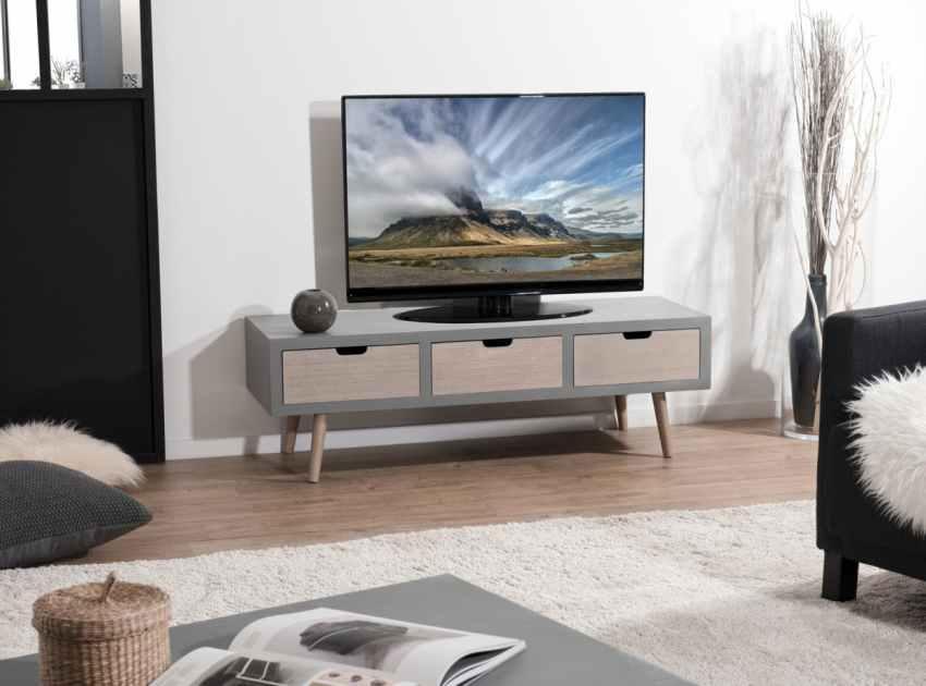meuble tv moderne bois gris effet beton lorens
