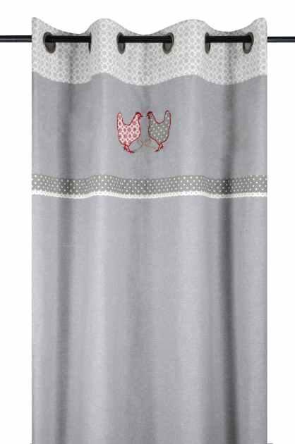 rideau campagne romantique gris decor poules brodees et dentelle motif floral et vichy 135x260cm a oeillets 100 coton padou