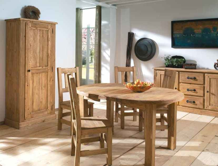 table a manger ronde extensible 110 150 190cm pin lasure lausane