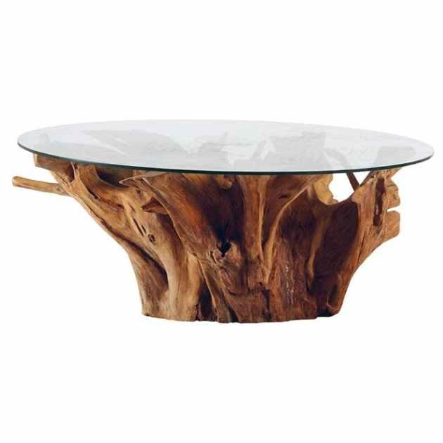 table basse ronde nature teck et verre 120x50 arizona