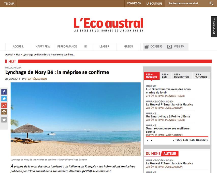 L'Eco Austral, article sur Nosy Be Madagascar