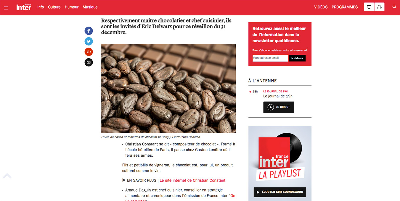 Article France Inter chocolat