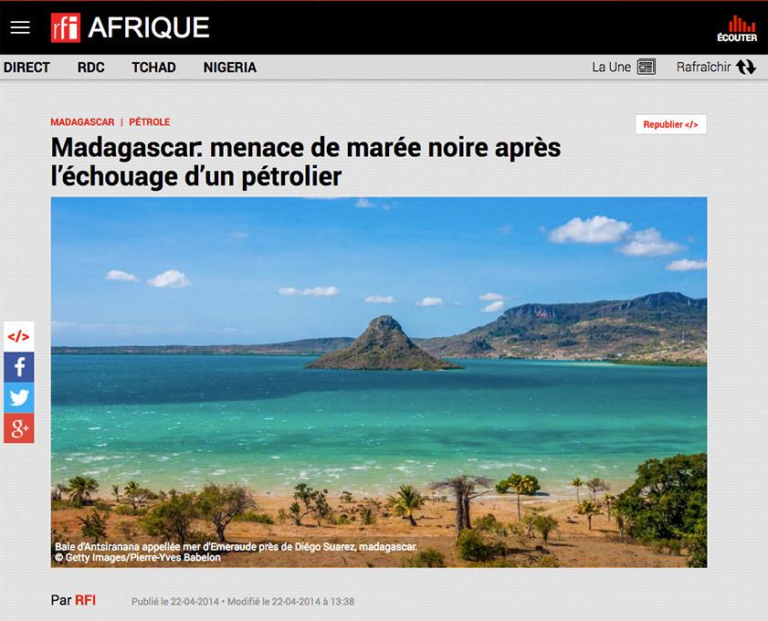 RFI Afrique, article sur Madagascar