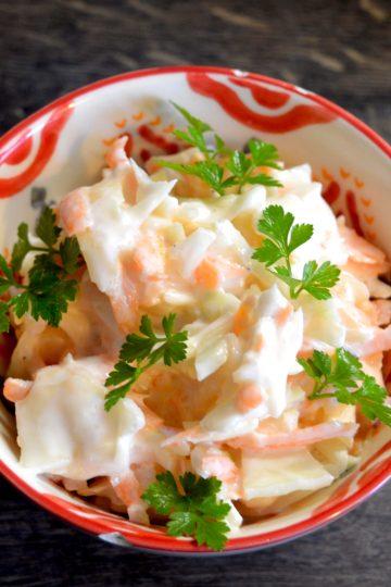 salade, chou blanc, cremème fraiche,