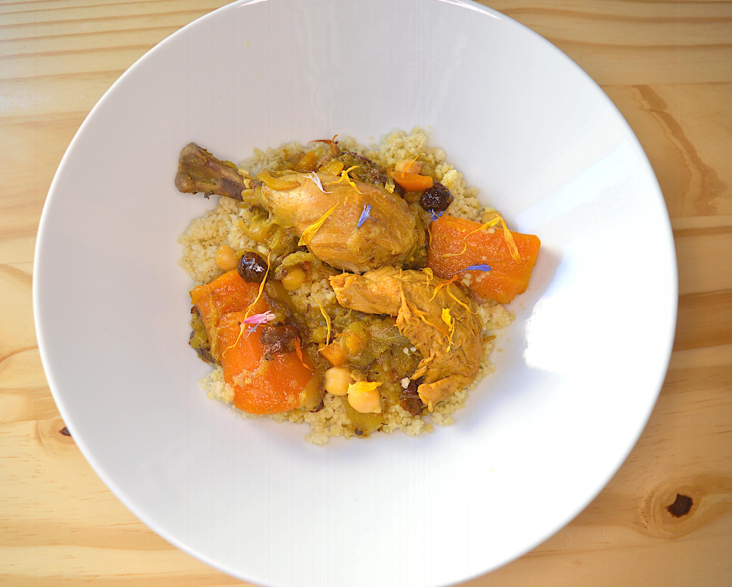poulet, carottes, pois chiches, sauce