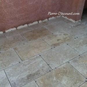 Margelle travertin vieilli 40.6x61x3cm 1er choix mixte beige Pierre Discount