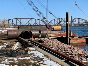 First metal piling in place to secure barge_3.12.21