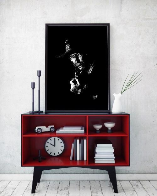 tableau moderne portrait de Lee Van Cleef au pastel sec