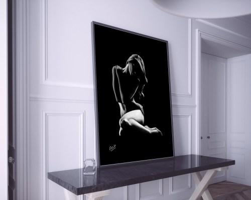 tableau femme nue 45 au pastel peinture moderne – sensuality nude woman painting