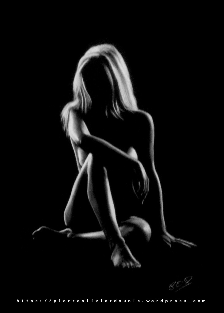 Silhouette de femme nue assise 14 nude woman painting 14 by POD