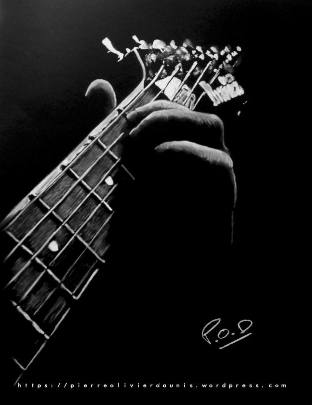 Tableau de guitariste 1  . ibanez guitar painting by POD