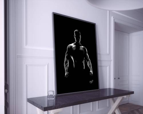 nu artistique masculin – tableau moderne d'homme nu 6 au pastel sec