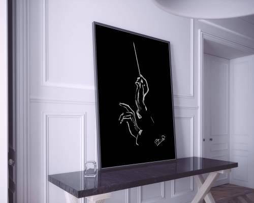 Mains du chef d'orchestre et baguette peinture au pastel sec. Conductor hands painting