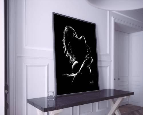 tableau femme nue accroupie 51 au pastel sec naked woman painting