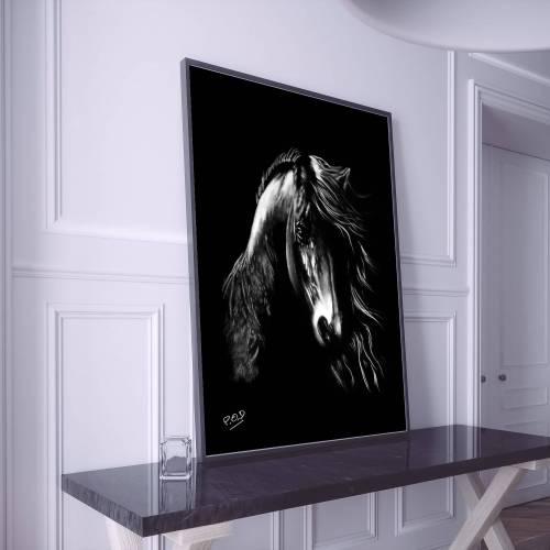 tableau moderne cheval 2 au pastel sec