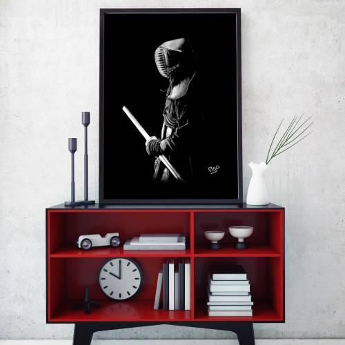 Painting  kenshi kendoka – samourai kendo – decoration design – pastel – modern athletic painting – fine art – peinture sportif 3