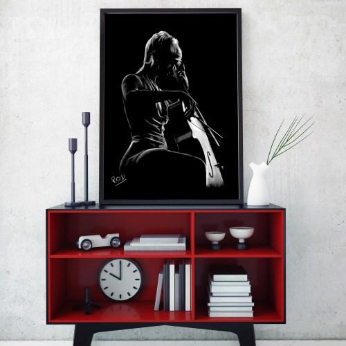 La violoncelliste : Tableau de musique de violoncelliste au pastel sec. violoncellist modern painting