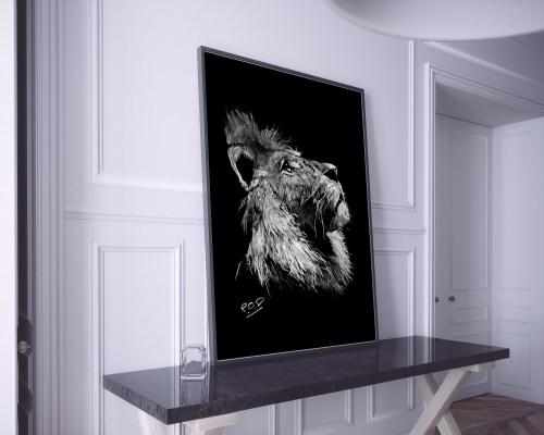 Peinture moderne de lion au pastel sec