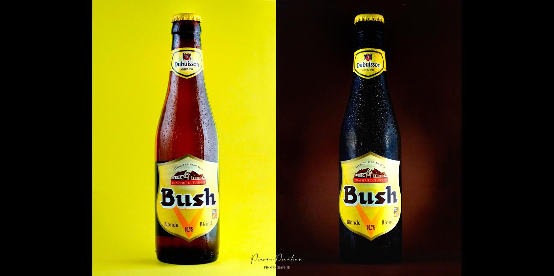 Deux photos packshot d'une bouteille de Dubuisson Bush