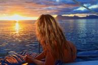 Vahine Tahiti sunset sailboat